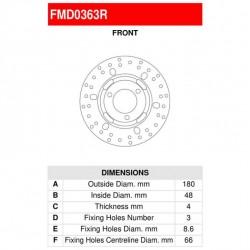 ΔΙΣΚΟΠΛΑΚΑ ΕΜΠΡ.CYCNUS 125 FERODO FMD0363R 180-48-66 3 ΤΡΥΠΕΣ